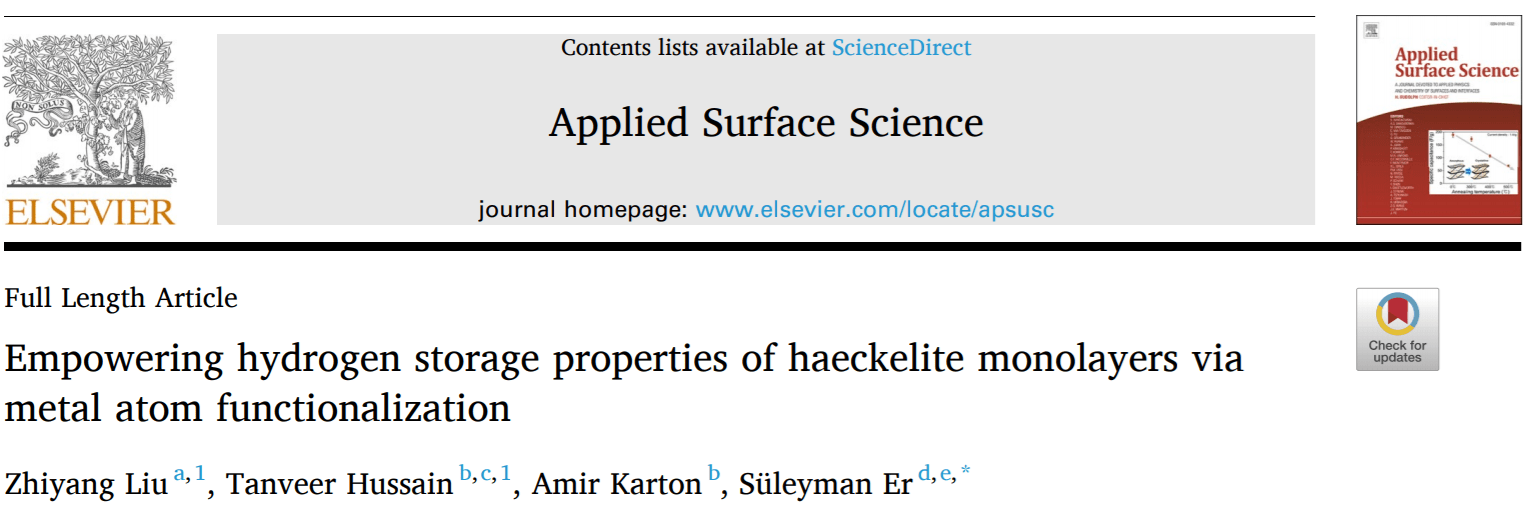 Publication in Applied Surface Science